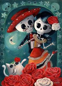 """Dia de Los Muertos Couple of Skeleton Lovers"" Posters by"
