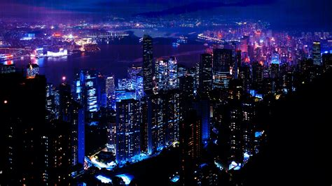 hd night light city sky skyscrapers wallpaper