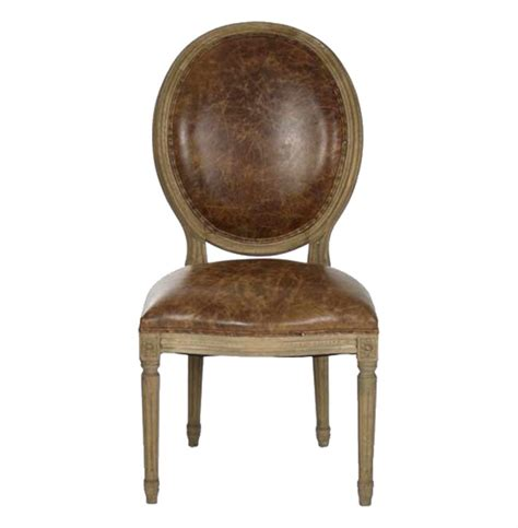 country louis xvi oval back leather dining side