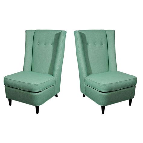 pair of high back slipper chairs by paul l 225 szl 243 at 1stdibs