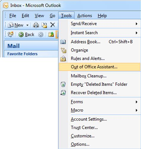 outlook message absence bureau out of office assistant automatic replies howto outlook