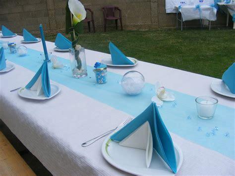 decoration table bapteme bleu et blanc