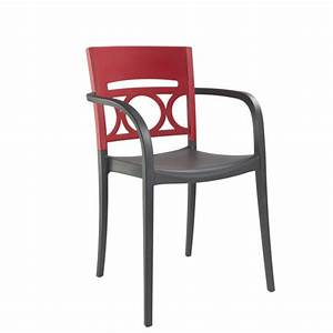 Fauteuil de terrasse design polypropylene anthracite rouge for Fauteuil terrasse design