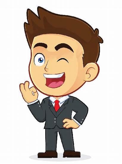 Ok Winking Businessman Clipart Male Cartoon Okay