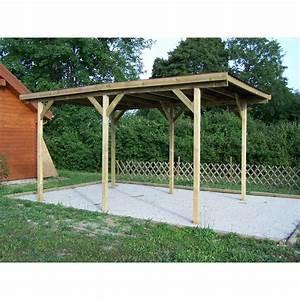 carport 1 voiture en bois toit plat ka 3050 g foresta With allee pour voiture dans jardin 12 carport 2 voitures toit plat