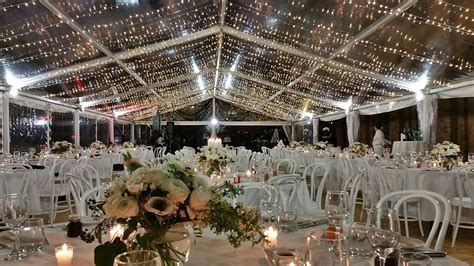 stunning clear marquee decorated with fairy lights party