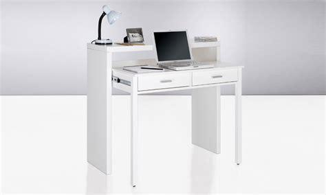 bureau console blanc bureau extensible 2 en 1 groupon shopping