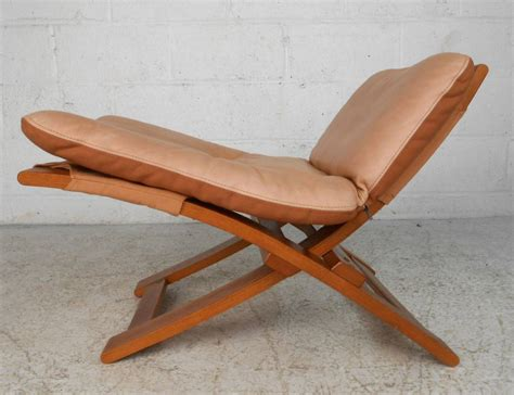 mid century modern nelo mobler leather chair and ottoman