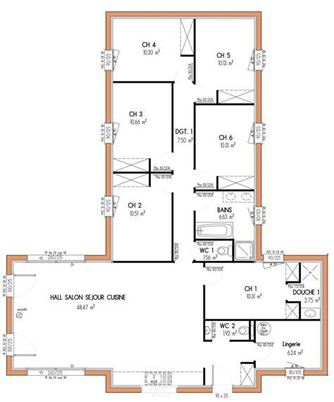 plan maison 5 chambres plain pied plan de maison 6 chambres plain pied gratuit