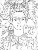Frida Kahlo Coloring Self Portrait Khalo Cezanne Paul Justcolor 1940 Adult Colorear Para Still Imagen Getcolorings Adults Vector Arte Printable sketch template
