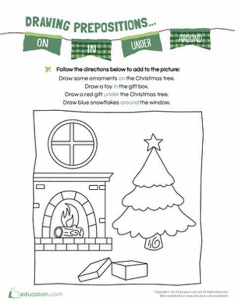 christmas prepositions worksheet educationcom