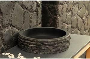 Vasque Salle De Bain En Pierre : vasque pierre de salle de bain poser en basalte noir dia 40 volcano dark ~ Teatrodelosmanantiales.com Idées de Décoration