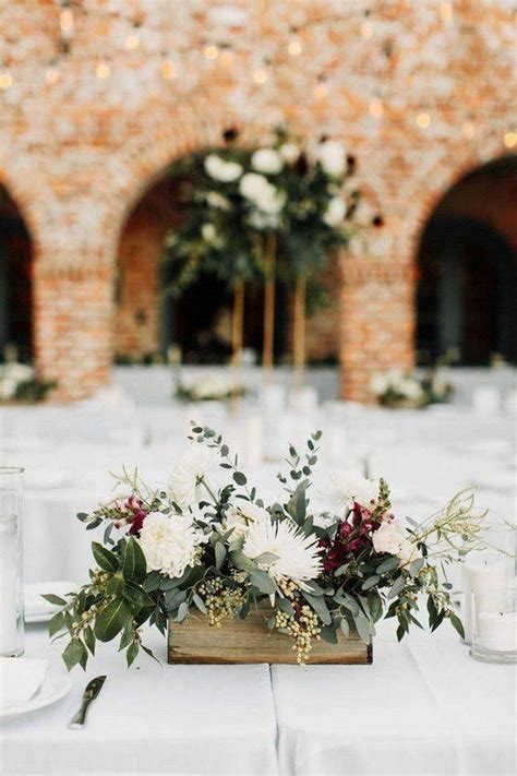 greenery and burgundy fall wedding centerpiece Flower