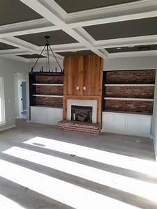 Brick, Inlay, Fireplace, Peeky, Cypress, Wood, Black, Granite, Surround, Fireplace, Rustic, Farmhouse