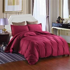Solid, Color, Satin, Striped, Bedding, Set, Queen, King, Size