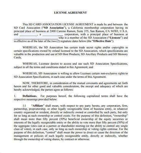 sample licensing agreements   ms word