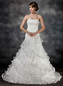 ball gown sweetheart court train organza wedding dress With cascading ruffles wedding dress