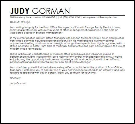 Cover Letter For Front Desk Manager front office manager cover letter sle cover letter