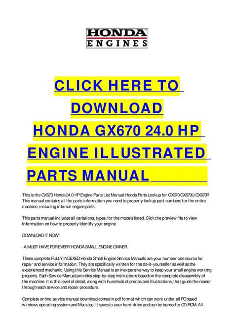 small engine repair manuals free download 2003 audi a4 electronic toll collection honda gx670 24 0 hp engine illustrated parts manual by cycle soft issuu