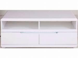 Meuble Tv Led Blanc Laqué : meuble tv blanc laque led conforama ~ Teatrodelosmanantiales.com Idées de Décoration