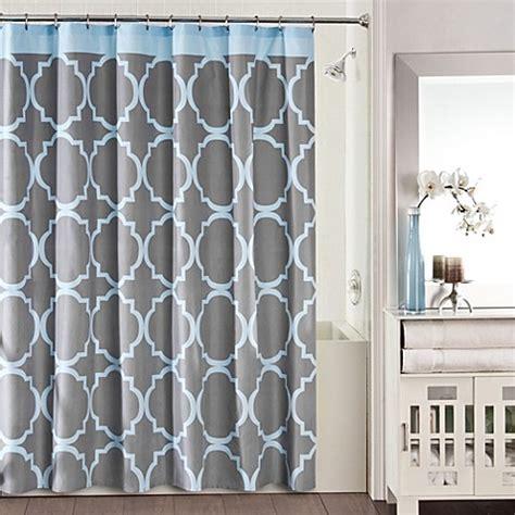 blue grey shower curtain studio 3b fret shower curtain in grey blue bed bath 4818