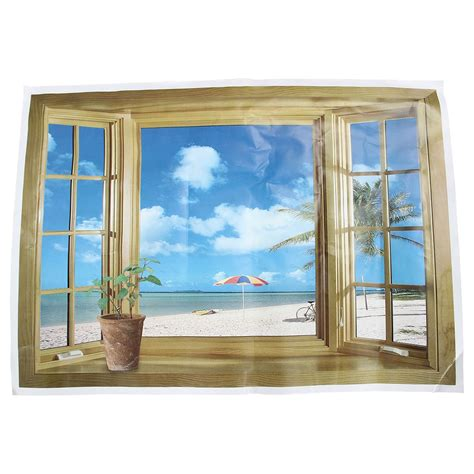 Wall stickers window window mural bedroom themes bedroom decor ceiling design textured walls wall murals outdoor furniture sets home decor. Large 3D Window Beach Sea View Wall Stickers Art Decals Mural Decor-in Wall Stickers from Home ...