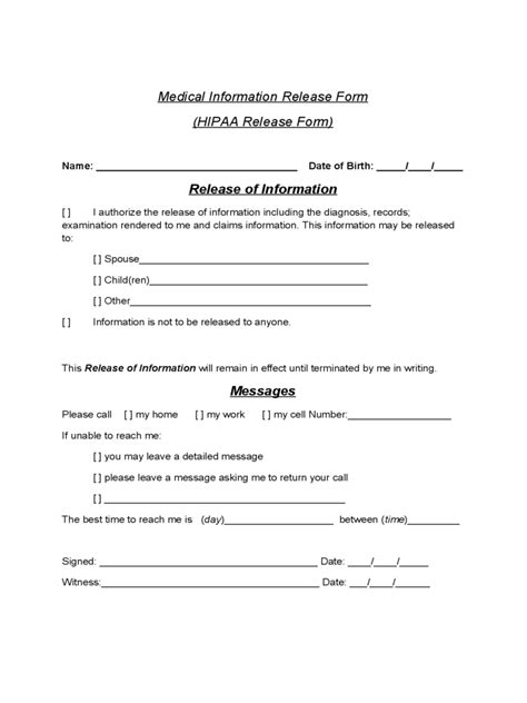 exle of medical release form release of information form 5 free templates in pdf