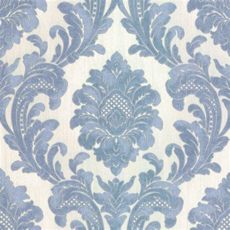 milano  damask wallpaper blue white  wallpaper