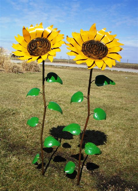 67 quot recycled metal sunflower stake yard decor