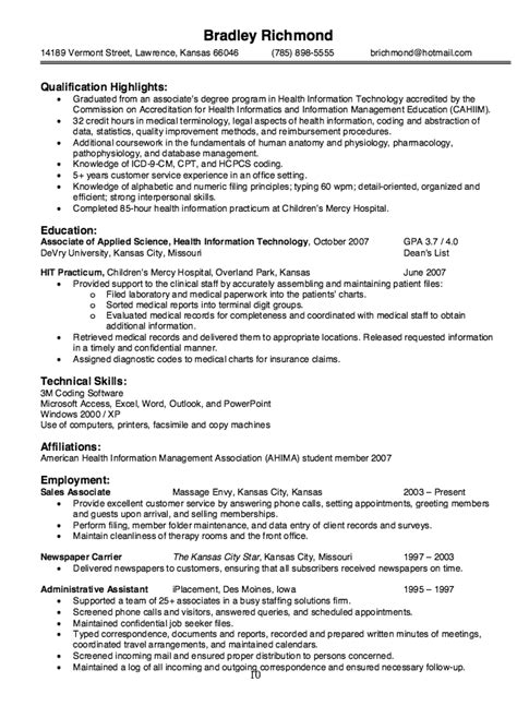 Resume Script Information Technology by Health Information Technology Resume Sle Http Resumesdesign Health Information