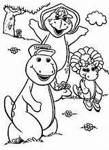 Barney Coloring Pages Friends Easy Tocolor Utilising Button Paper sketch template