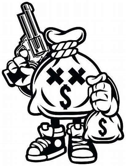 Money Cartoon Bank Bag Hungry Character Robbery