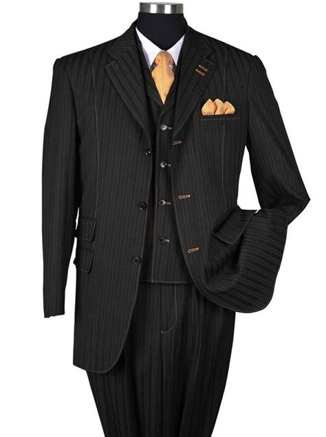 mens  piece wool feel classic striped suit  vest