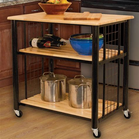 33 1/2'' Wide Contemporary Kitchen Cart with Natural