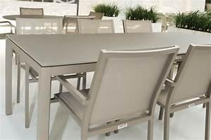 Table De Jardin Aluminium Et Verre : table de jardin design 160 cm verre et aluminium grana la galerie du teck ~ Teatrodelosmanantiales.com Idées de Décoration