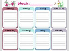 Weekly Blank Calendar Template 5 Free Printable Weekly