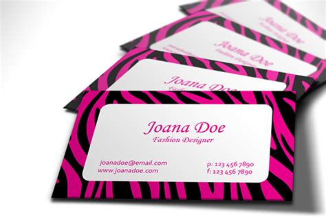 Fashionable Pink And Black Zebra Business Card Design Free Business Card Designs Mockups Ideas For Lawn Care Hair Stylist Graphic Cards With Musical Hospitality Meeting Thank You Letter Template Hvac