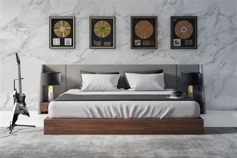 nova domus janice modern grey fabric  walnut bed