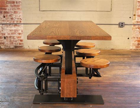 Swing Table by Industrial Swing Out Seat Cafe Table Vintage Industrial