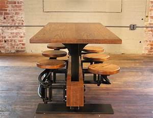 Vintage-oak-dining-table-with-built-in-attached-swing-out-seats-11