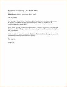 Sample Job Resignation Letter 2 Week Notice