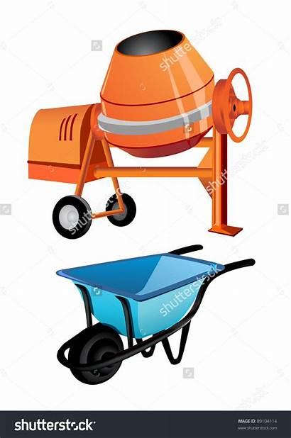 Mixer Clipart Drum Concrete Clipground Wheelbarrow