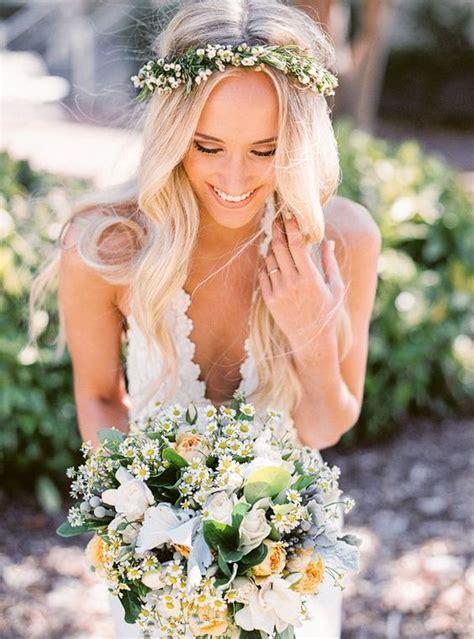 Flower Crown Wavy Wedding Hairstyle