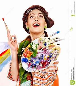 Female artist at work. stock image. Image of craft, people ...