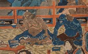 Antique Japanese wood block print 1850s Oni demons Japan ...
