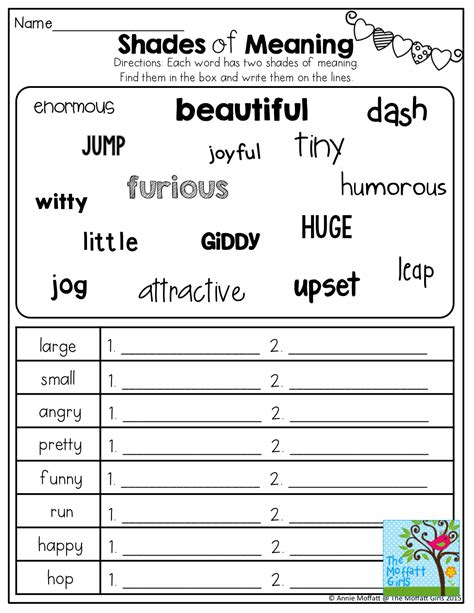 winter second grade synonyms worksheets winter best free
