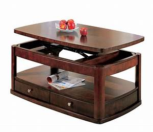 Evans merlot coffee table with lift top and storage drawers for Coffee table with drawers and shelf