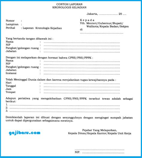 Contoh Surat Kronologis Kecelakaan Kerja by Kriteria Dan Prosedur Penetapan Tewas Bagi Pns Pppk Info