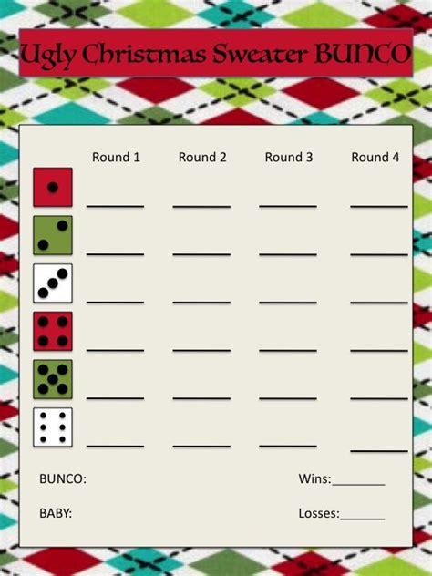 ugly christmas sweater bunco score sheet bunco bunco