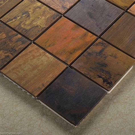 metallic tiles decorative metal wall panel wall art tile wooden like faded natural metallic backsplash mosaic